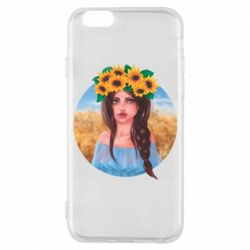 Чехол для iPhone 6/6S Girl in a wreath of sunflowers