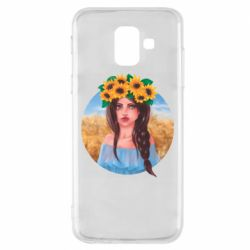 Чехол для Samsung A6 2018 Girl in a wreath of sunflowers