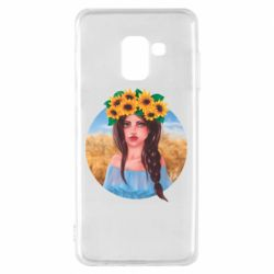 Чехол для Samsung A8 2018 Girl in a wreath of sunflowers