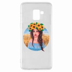 Чехол для Samsung A8+ 2018 Girl in a wreath of sunflowers