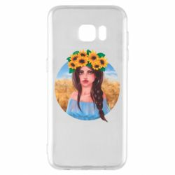 Чехол для Samsung S7 EDGE Girl in a wreath of sunflowers