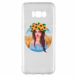 Чехол для Samsung S8+ Girl in a wreath of sunflowers