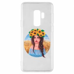 Чехол для Samsung S9+ Girl in a wreath of sunflowers
