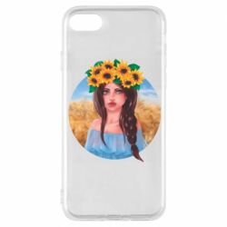 Чехол для iPhone 8 Girl in a wreath of sunflowers