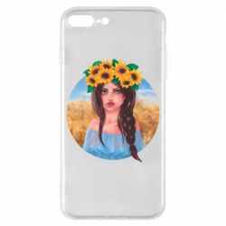 Чехол для iPhone 8 Plus Girl in a wreath of sunflowers