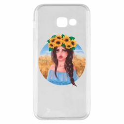 Чехол для Samsung A5 2017 Girl in a wreath of sunflowers