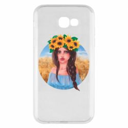 Чехол для Samsung A7 2017 Girl in a wreath of sunflowers