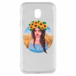 Чехол для Samsung J3 2017 Girl in a wreath of sunflowers