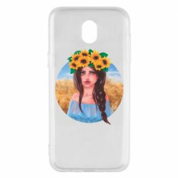 Чехол для Samsung J5 2017 Girl in a wreath of sunflowers