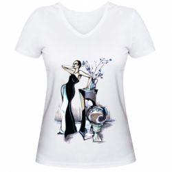 Жіноча футболка з V-подібним вирізом Girl in black with a ball