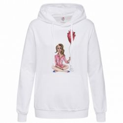 Женская толстовка Girl in pajamas holding an airy heart
