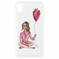 Чехол для iPhone XR Girl in pajamas holding an airy heart
