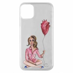 Чехол для iPhone 11 Pro Girl in pajamas holding an airy heart