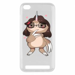 Чехол для Xiaomi Redmi 5A Girl Sloth with Unicorn Horn - FatLine