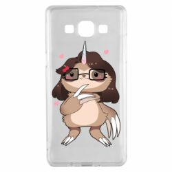 Чехол для Samsung A5 2015 Girl Sloth with Unicorn Horn - FatLine