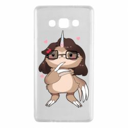 Чехол для Samsung A7 2015 Girl Sloth with Unicorn Horn - FatLine