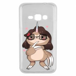 Чехол для Samsung J1 2016 Girl Sloth with Unicorn Horn - FatLine