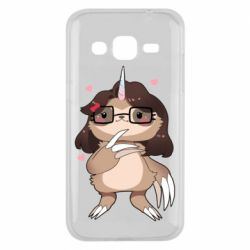 Чехол для Samsung J2 2015 Girl Sloth with Unicorn Horn - FatLine