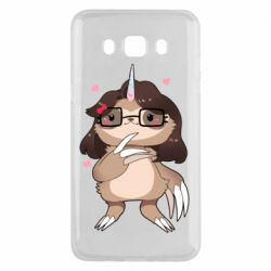 Чехол для Samsung J5 2016 Girl Sloth with Unicorn Horn - FatLine