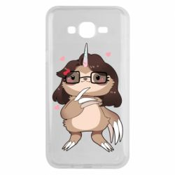 Чехол для Samsung J7 2015 Girl Sloth with Unicorn Horn - FatLine