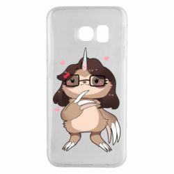 Чехол для Samsung S6 EDGE Girl Sloth with Unicorn Horn - FatLine