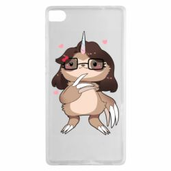 Чехол для Huawei P8 Girl Sloth with Unicorn Horn - FatLine