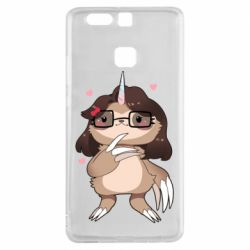 Чехол для Huawei P9 Girl Sloth with Unicorn Horn - FatLine