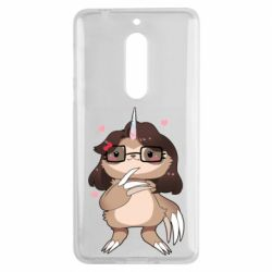 Чехол для Nokia 5 Girl Sloth with Unicorn Horn - FatLine