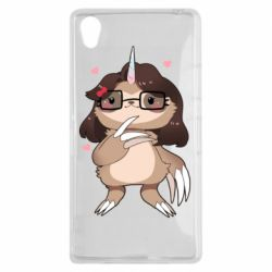 Чехол для Sony Xperia Z1 Girl Sloth with Unicorn Horn - FatLine