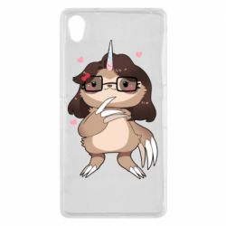 Чехол для Sony Xperia Z2 Girl Sloth with Unicorn Horn - FatLine