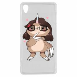 Чехол для Sony Xperia Z3 Girl Sloth with Unicorn Horn - FatLine
