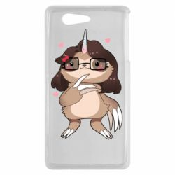Чехол для Sony Xperia Z3 mini Girl Sloth with Unicorn Horn - FatLine