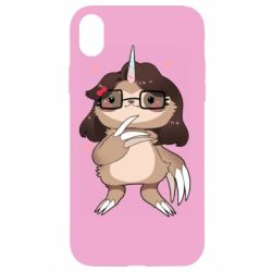 Чехол для iPhone XR Girl Sloth with Unicorn Horn - FatLine