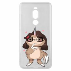 Чехол для Meizu Note 8 Girl Sloth with Unicorn Horn - FatLine