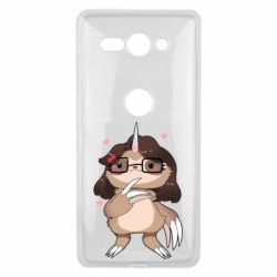 Чехол для Sony Xperia XZ2 Compact Girl Sloth with Unicorn Horn - FatLine