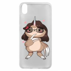 Чехол для Xiaomi Redmi 7A Girl Sloth with Unicorn Horn - FatLine