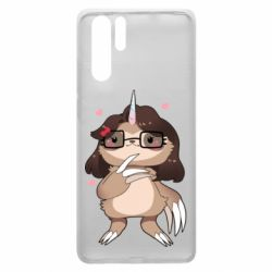 Чехол для Huawei P30 Pro Girl Sloth with Unicorn Horn - FatLine