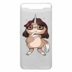 Чехол для Samsung A80 Girl Sloth with Unicorn Horn - FatLine