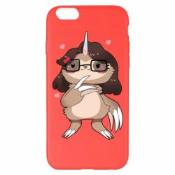 Чехол для iPhone 6 Plus/6S Plus Girl Sloth with Unicorn Horn - FatLine