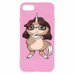 Чехол для iPhone 7 Girl Sloth with Unicorn Horn - FatLine