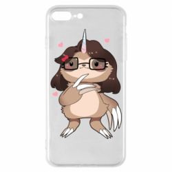 Чехол для iPhone 7 Plus Girl Sloth with Unicorn Horn - FatLine