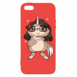 Чехол для iPhone5/5S/SE Girl Sloth with Unicorn Horn - FatLine