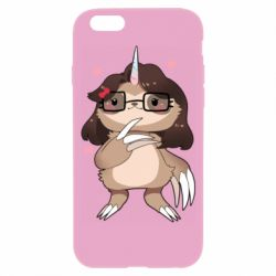 Чехол для iPhone 6/6S Girl Sloth with Unicorn Horn - FatLine