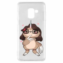 Чехол для Samsung A8 2018 Girl Sloth with Unicorn Horn - FatLine