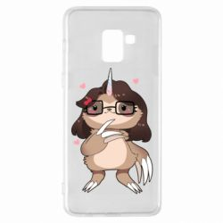 Чехол для Samsung A8+ 2018 Girl Sloth with Unicorn Horn - FatLine