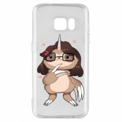 Чехол для Samsung S7 Girl Sloth with Unicorn Horn - FatLine
