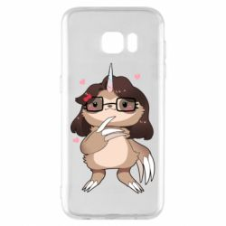 Чехол для Samsung S7 EDGE Girl Sloth with Unicorn Horn - FatLine