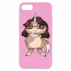 Чехол для iPhone 8 Girl Sloth with Unicorn Horn - FatLine