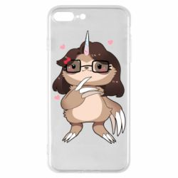 Чехол для iPhone 8 Plus Girl Sloth with Unicorn Horn - FatLine