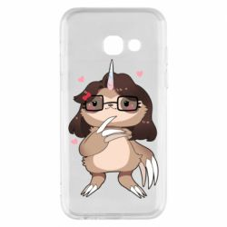 Чехол для Samsung A3 2017 Girl Sloth with Unicorn Horn - FatLine
